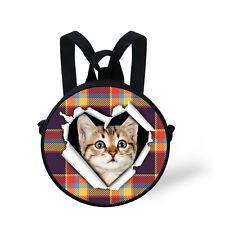 Cute Cat Women's Round Handbag Purse Baby Toddle Girls Backpack Two Way Bags