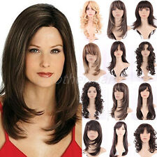100% Heat Resistant Long Wig Curly Wavy Dark Brown Blonde Mix Curly Hair Wigs #S
