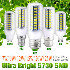 Bright 5730 SMD LED Corn Bulb Lamp Light White AC 110V/220V E27 B22 GU10 E14 G9