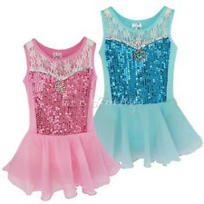 Girls Dance Leotard Unitards Ballet Dress Kid Sequin Chiffon Gymnastic Skating