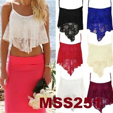 Brand New Ladies Floral Lace Handkerchief Strappy Vest Camisole Crop Top Size814
