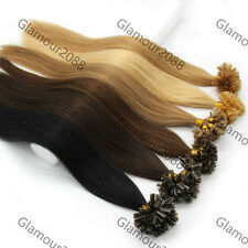"26"" 70g Pre Bonded Glue Nail Shape Tip Remy Human Hair Extensions Straight 100s"