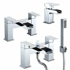 Modern Chrome Waterfall Bathroom Set Bath Shower Filler Basin Mixer Tap QUALITY