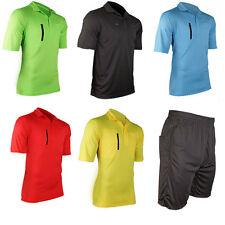New Men's Soccer Football Referee Jersey Short Sleeve T-Shirt Shorts Uniforms A1
