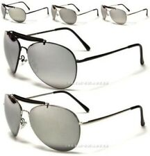 SILVER MIRRORED SUNGLASSES AVIATOR RETRO VINTAGE DESIGNER PILOT METAL MIRROR
