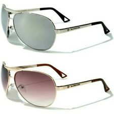 NEW SUNGLASSES BLACK DESIGNER MENS LADIES METAL MIRROR LARGE BIG AVIATOR UV400