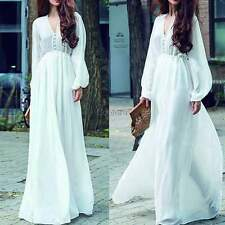 Fashion Women Chiffon Plunging V Neck Long Sleeve Long Maxi Swing Dress US CO99