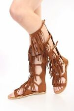 Women Fringe Gladiator Flat Sandal Strappy Cage Mid Calf Tall Knee High Open Toe