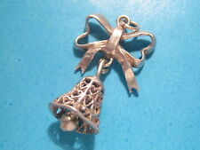 Vintage solid silver charm Bow and Bell pierced hearts, charm bracelet , pendant