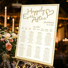 Personalised Wedding Table Seating Plan- HAPPILY EVER AFTER WORDS-3 SIZE OPTIONS
