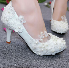 LACE PEARL FLOWER WEDDING PROM BRIDAL BRIDESMAID HIGH LOW HEELS PUMPS SHOE WHITE
