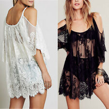 2016 Lace Dresses Crochet  Women Summer Boho Beach Sexy Floral Strap Sheer