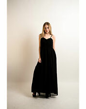 Lady sweetheart pleated bust line chiffon strappy maxi dress bridesmaid evening