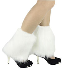CF889 Fluffies Fluffy Furry Leg Warmers Boots Covers Rave Furries White