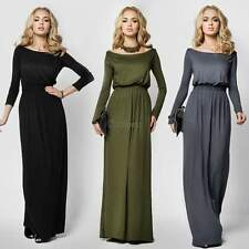 Women Sexy Casual Boat Neck Long Maxi Party Cocktail Evening Plain Beach Dress