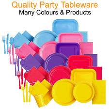 Party Tableware Disposable Paper Plates Napkins Cutlery Cups Plastic Knifes Fork
