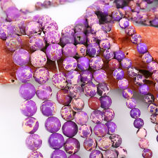 1 Bunch 4/6/8/10/12mm Purple Natural Stone Spacer String Beads Chain Craft New