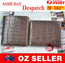 Coffee Skin Pattern Men's Quality GENUINE leather Wallet purse Card Holder