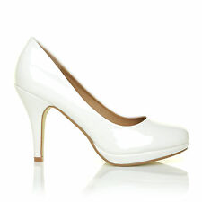 CHIP White Patent Leather Pumps Mid-High Heel Low Platform Office Court Shoes
