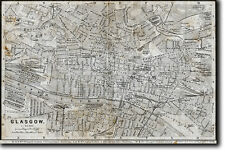 Historic Map of Glasgow (Scotland) pre 1900 Reproduction Photo Poster Print Gift