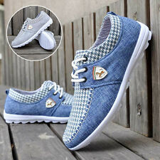 Fashion Mens Canvas Shoes Flat Casual Lace-up Massage Sneakers Breathable Shoes