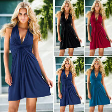 Women's Sexy Sleeveless Evening Cocktail Party Bodycon Dresses V-Neck Wrap Dress