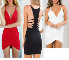 Sexy Lady Women Backless V Neck Bodycon Clubwear Party Cocktail Short Mini Dress