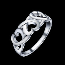 Silver Plated Ring Finger Band Jewelry Fashion Gift Cool Size 7 Size 8 Heart r
