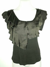 SALE Request Designer Black Stretch Ribbed Top with Black Satin Detail 10