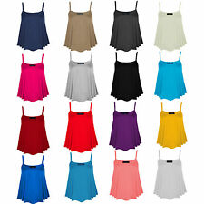 Womens Ladies Cami Sleeveless Swing Vest Top Strappy Plain Flared Plus Size 8-26