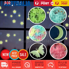 100PCs Home Wall Glow Stars Stickers Moon Butterfly Decal Baby Kids Nursery Room