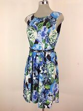 Ellen Tracy  NEW Elegant  Blue multi with Black  Belt and pleated flare Dress