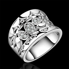 Silver Plated Ring Finger Size 7 8 Retor Gift Vintage Rings Womens Jewelry j