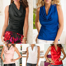New Ladies Gathered Cowl Neck Sleeveless Vest Tank Top Women Casual Shirt Blouse