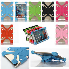 Universal Soft Extendable Rubber Case Cover Skin Stand For iPad Android Tablet