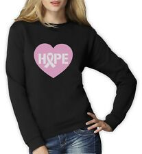 Hope Breast Cancer Awareness Heart Shaped Pink Ribbon Women Sweatshirt Support