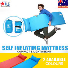 Self Inflating Mattress Camping Hiking Airbed Mat Sleeping Pillow Free Carry Bag