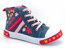 Goody 2 Shoes Infant Girls UK 10 Blue Denim Floral Hi Top Zip Trainers Shoes NEW