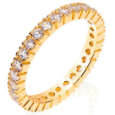 Sterling Silver 14k-Gold Plated Eternity Ring with Round Cz (9SMO93R0098-GP)