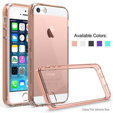 Hybrid Slim Crystal Clear Back Hard TPU Bumper Case Cover for iphone SE 5S 5G