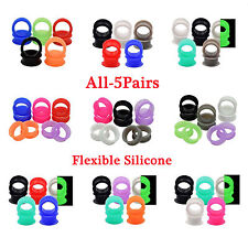 5Pairs Flexible Silicone Flesh Tunnels Plugs Earlets Earskin Hollow Colorful Hot