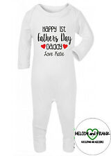 Personalised Happy 1st Fathers Day Daddy love you Baby sleepsuit your baby name