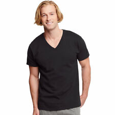 3-Pack Hanes Classics Men's Traditional Fit BLACK Dyed V-Neck Undershirt - S-XL