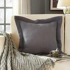 NEW 100% cotton 350gsm Large Waffle European Pillow Cushion cover case Dark Grey