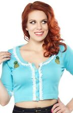 Sourpuss Pina Colada Bella Cardigan Pineapple Cropped 50s Rockabilly S - 3XL