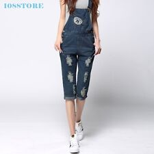 FASHION OVERALLS JUMPSUIT DENIM RIPPED PANTS JEANS WOMEN LADY LOOSE ROMPERS S-XL