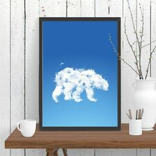 Polar Bear Cloud Print Poster Whimsical Wall Decor