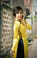 Vietnam Traditional Costume, Ao Dai, YELLOW Silk Dress, Black Satin Pant