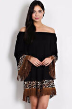 S-M-L Magic Mystical Black Leopard Print Vegan Suede Fringe Dress