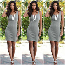 Summer Womens Casual Sleeveless Bodycon Sexy Lace Up Party Evening Mini Dress